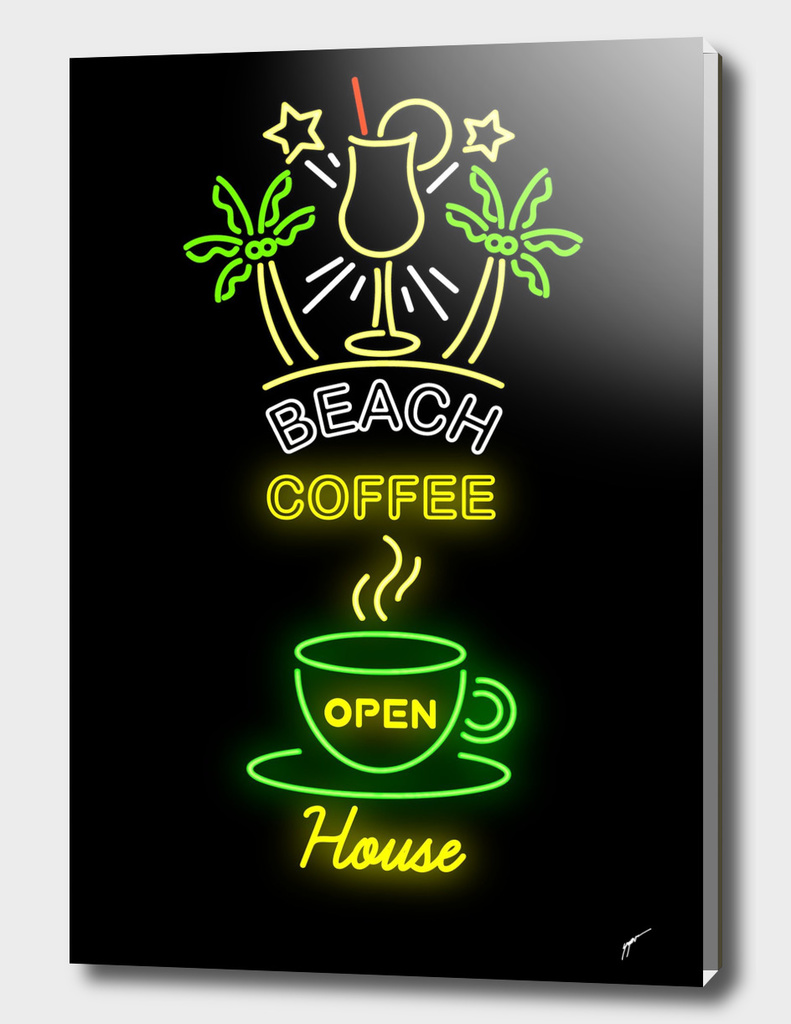 Coffee Poster 97 - Neon Beach Coffee