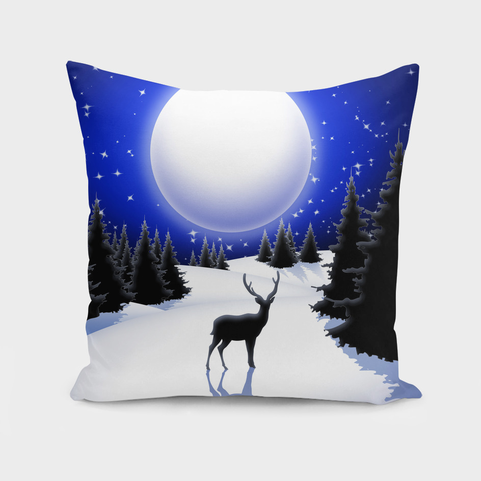 Lonely Deer on Snowy Silent Night Mountains