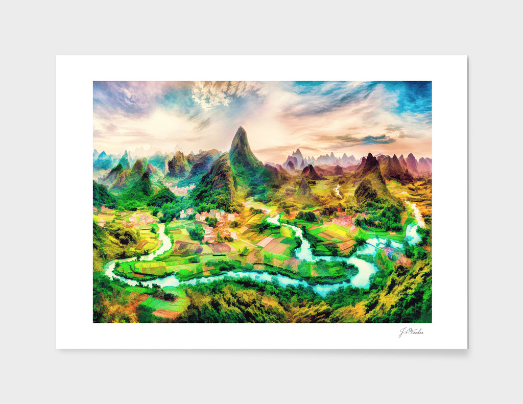 China landscape oil painting