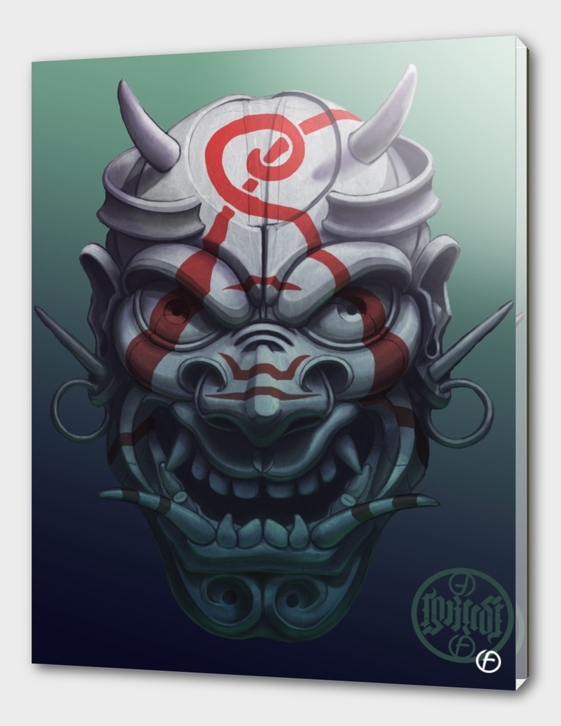 Evil painted samurai mask