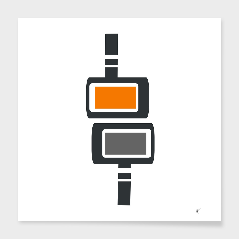 Retro Futuristic Cubes Print - Orange and Gray