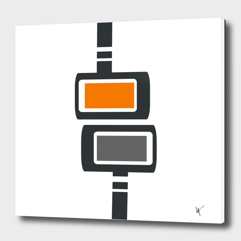 Retro Futuristic Cubes Print - Orange and Gray