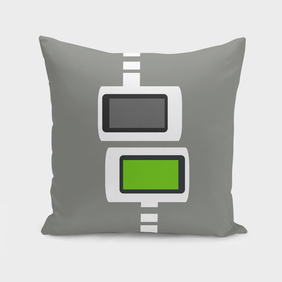 Retro Futuristic Cubes Print - Lime on Gray