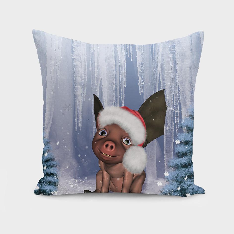 Christmas, cute little piglet