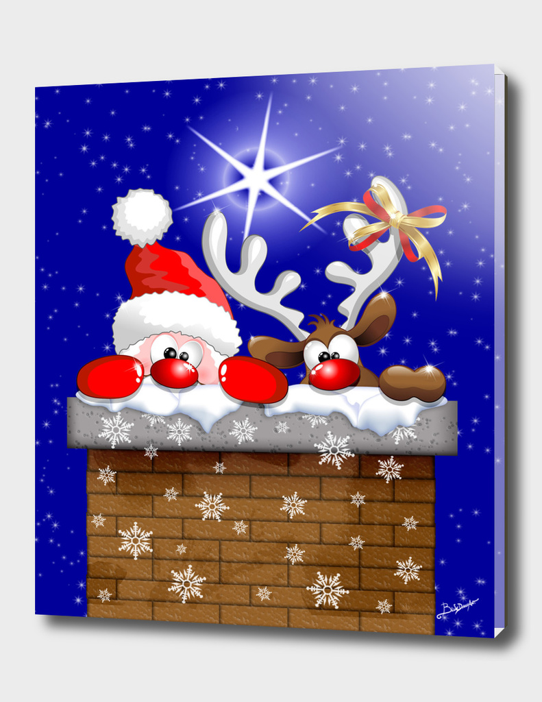 Funny Christmas Santa and Reindeer Cartoon