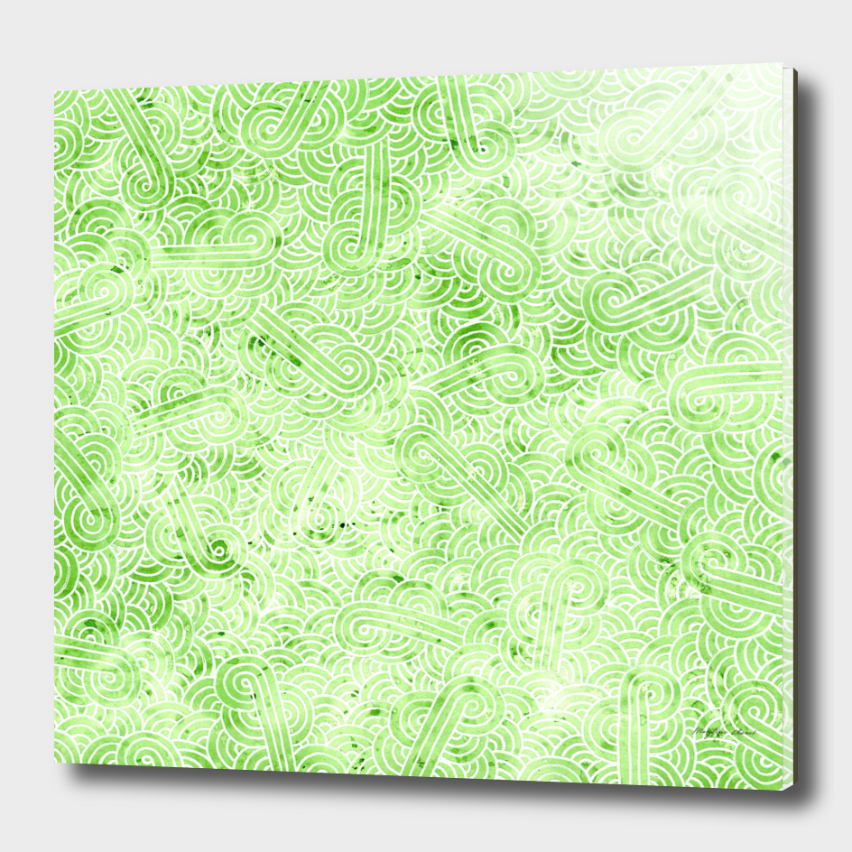 Pastel green and white swirls doodle