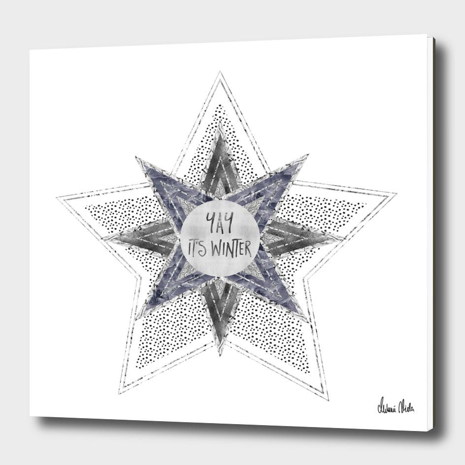 Graphic Art Silver YAY It's Winter | purple