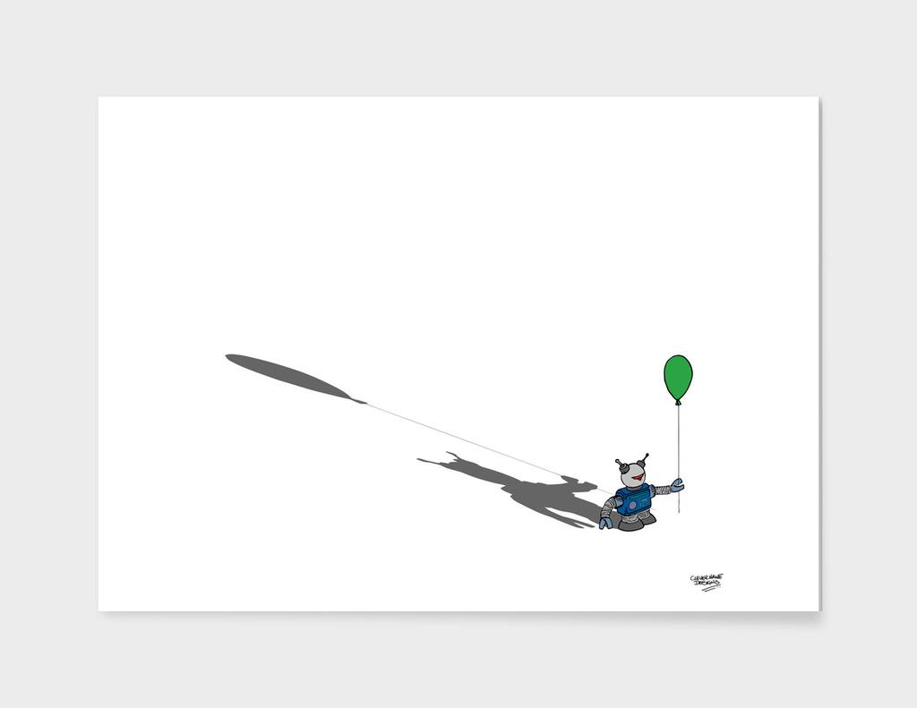 Robot with a Green Balloon