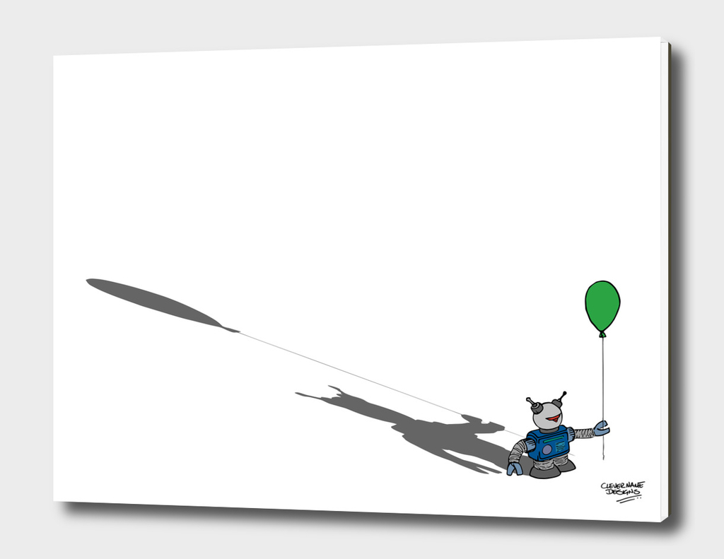 Robot with a Green Balloon