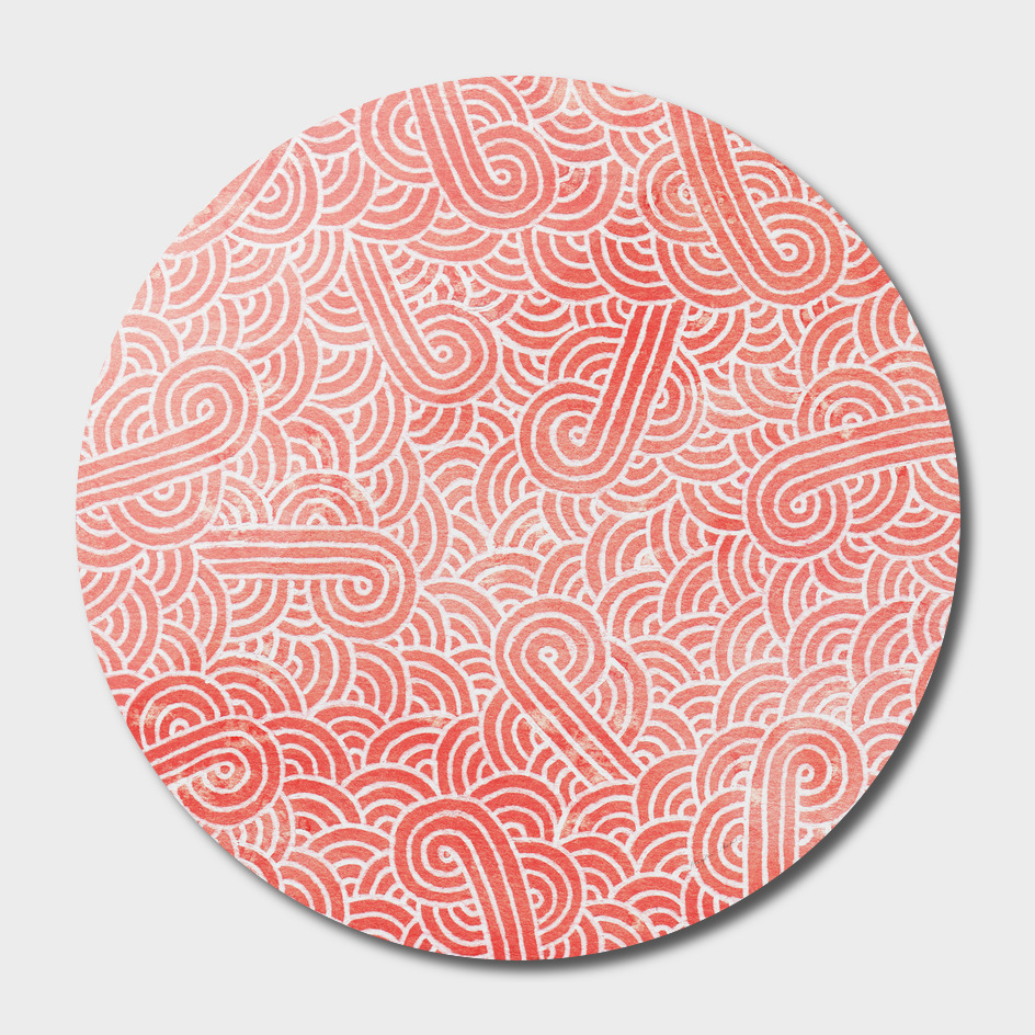 Coral pink and white swirls doodle