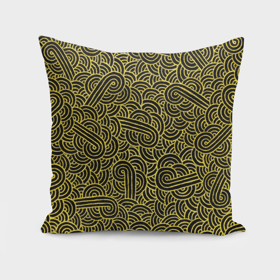 Faux gold and black swirls doodle