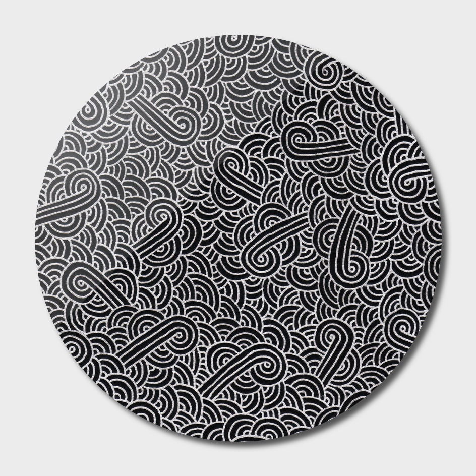 Faux silver and black swirls doodle