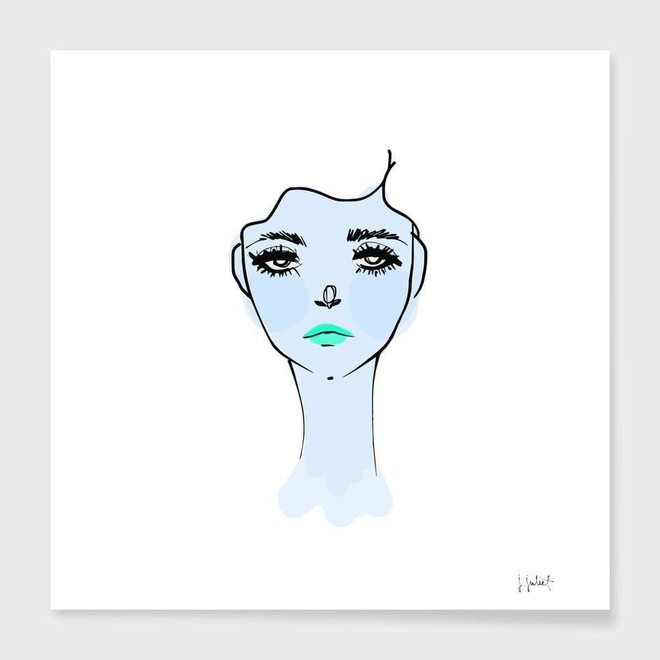 Blue Mood Portrait Illustration