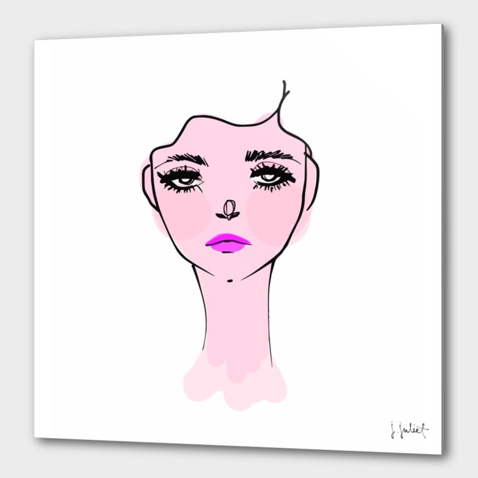 Pink Mood Portrait Illustration