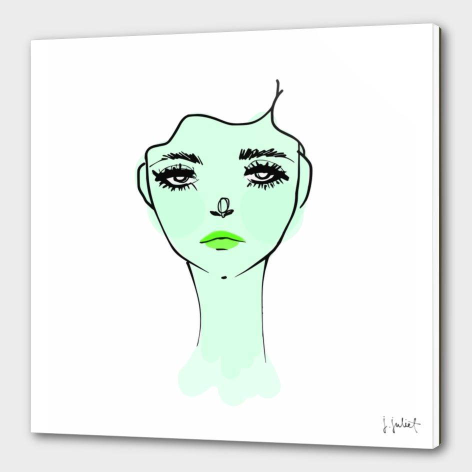 Green Mood Portrait Illustration