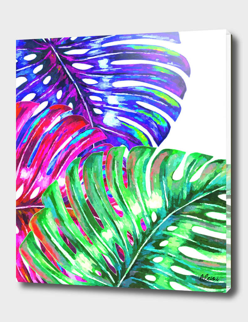 Colorful Monstera Illustration