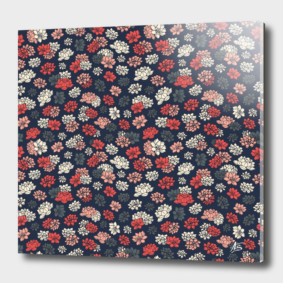 Water Lilies Retro Pattern