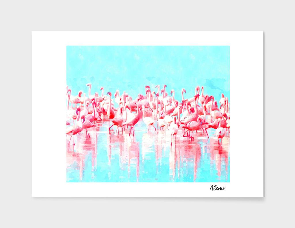 Flamingos Tropical Watercolor