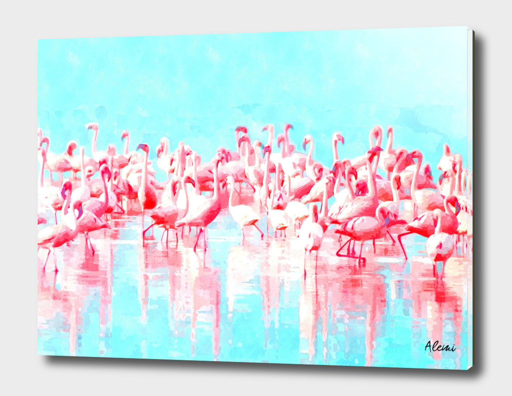Flamingos Tropical Watercolor