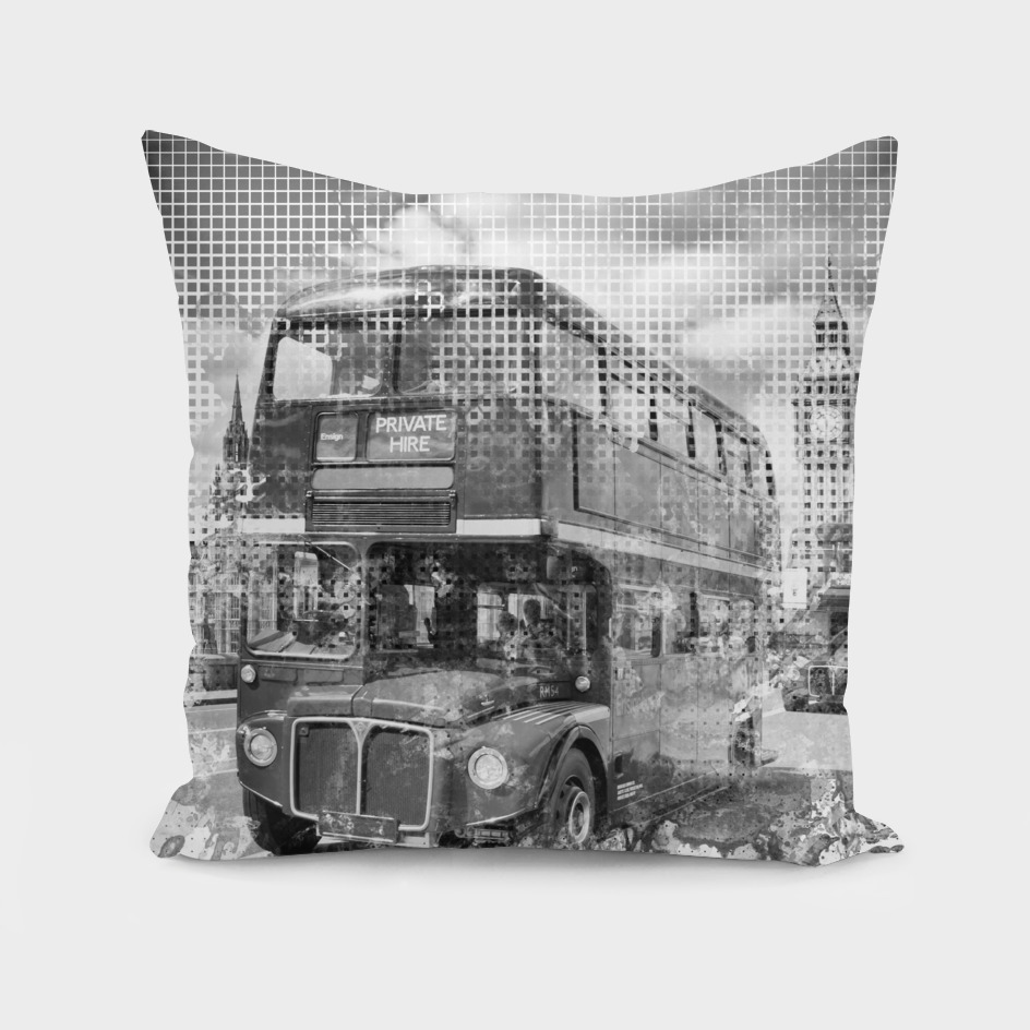 Graphic Art LONDON WESTMINSTER Buses | Monochrome