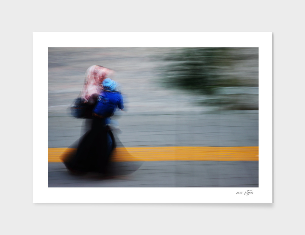Turkish woman walking on the street
