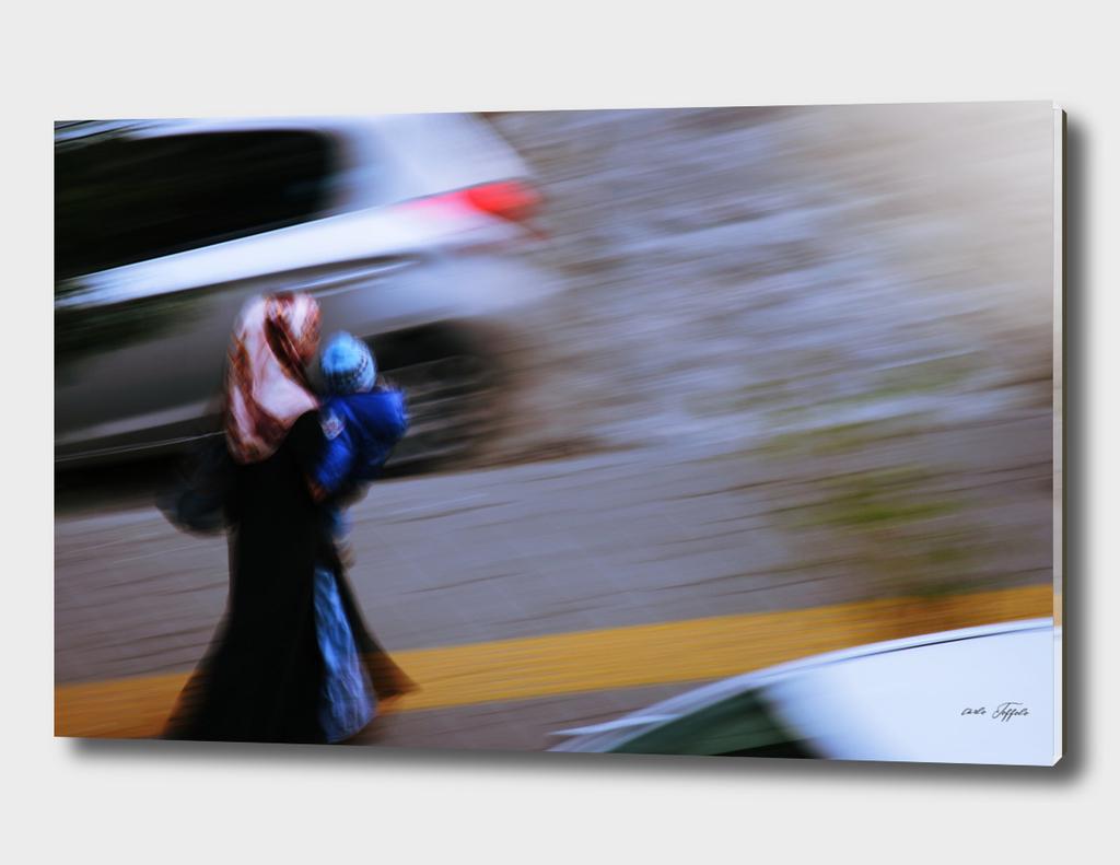 Turkish woman walking in the city
