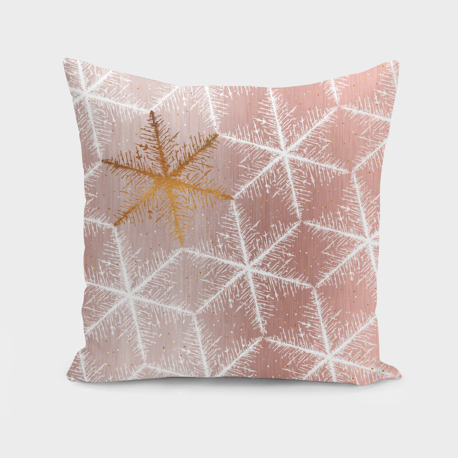 Elegant Geometric Gold Snowflakes Holiday Pattern