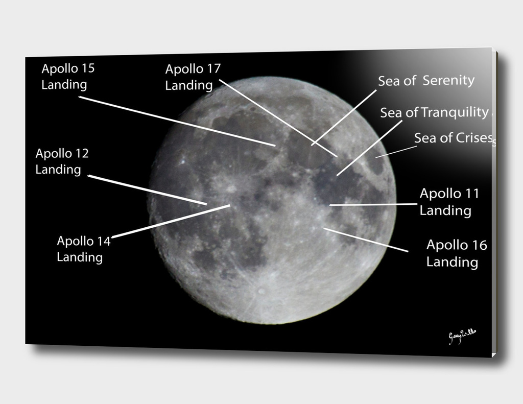 Moon and where the Apollo teams landed