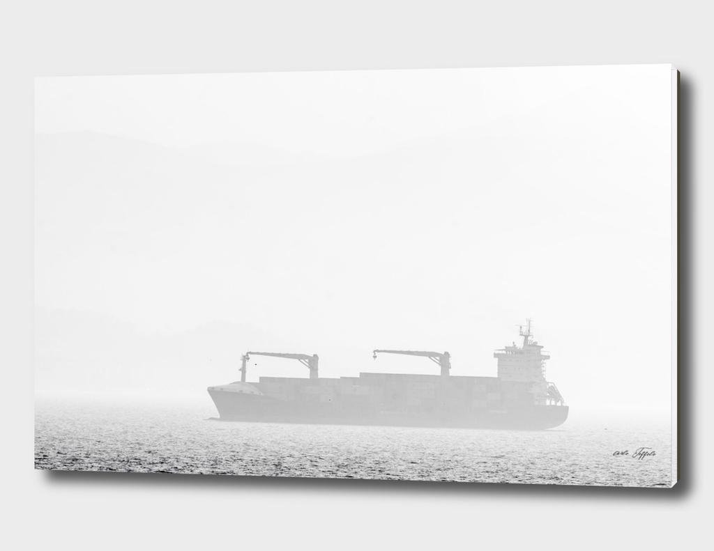 Ship on the foggy sea