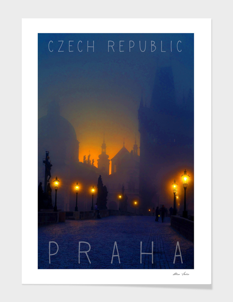Prague, Czech Republic, vintage travel poster