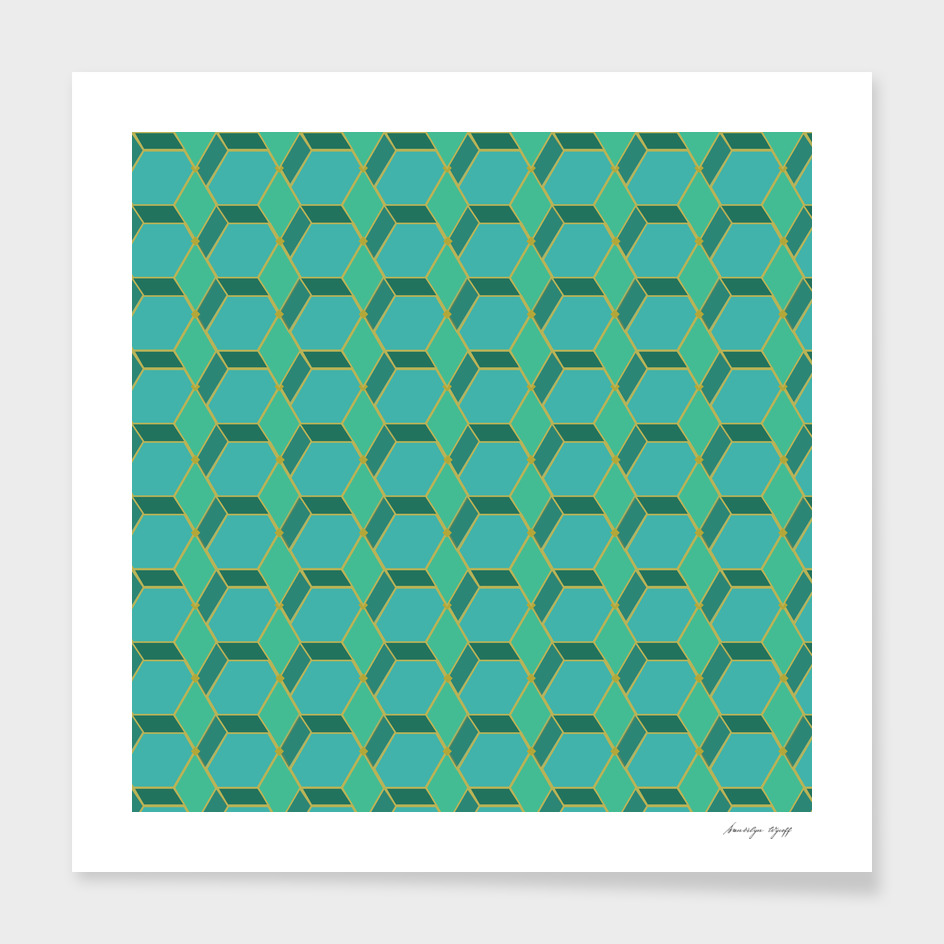 Blue and Green Hexagons #2