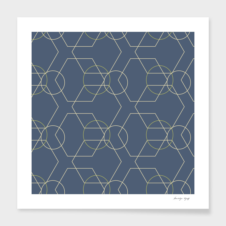 Blue Geo Hex and Circles