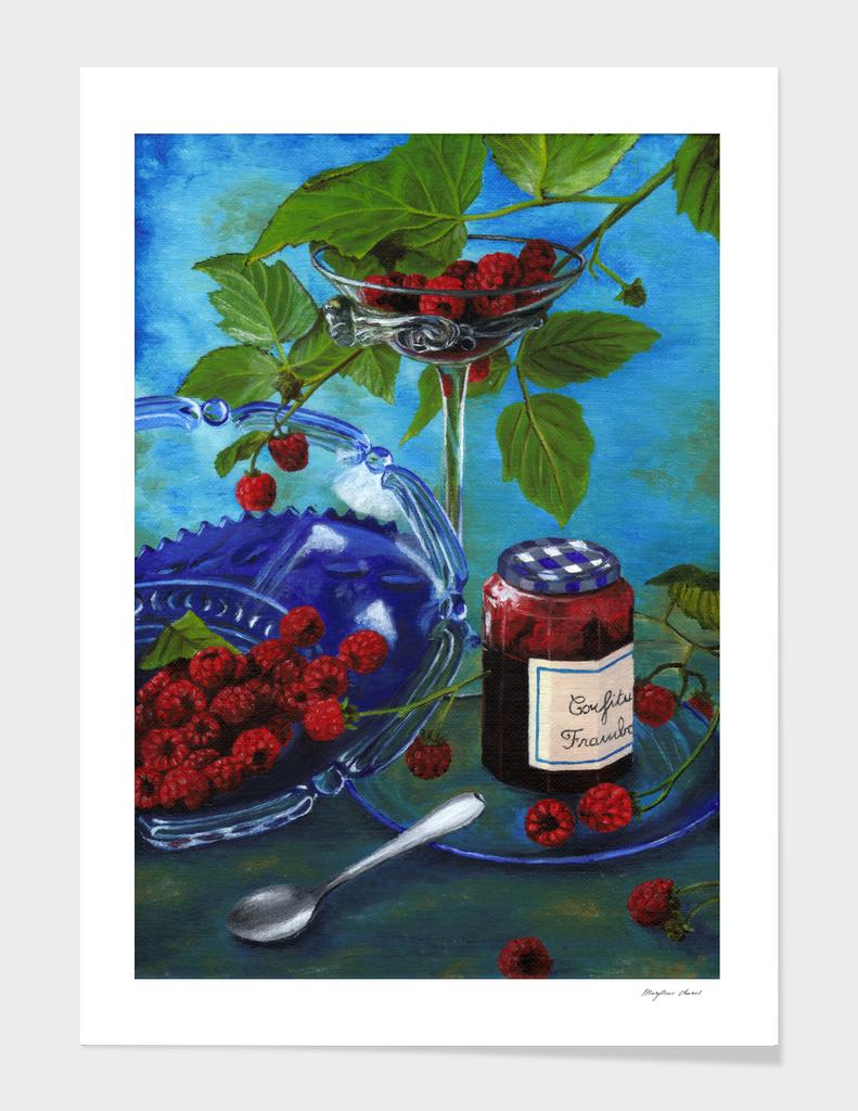 Still life with raspberries