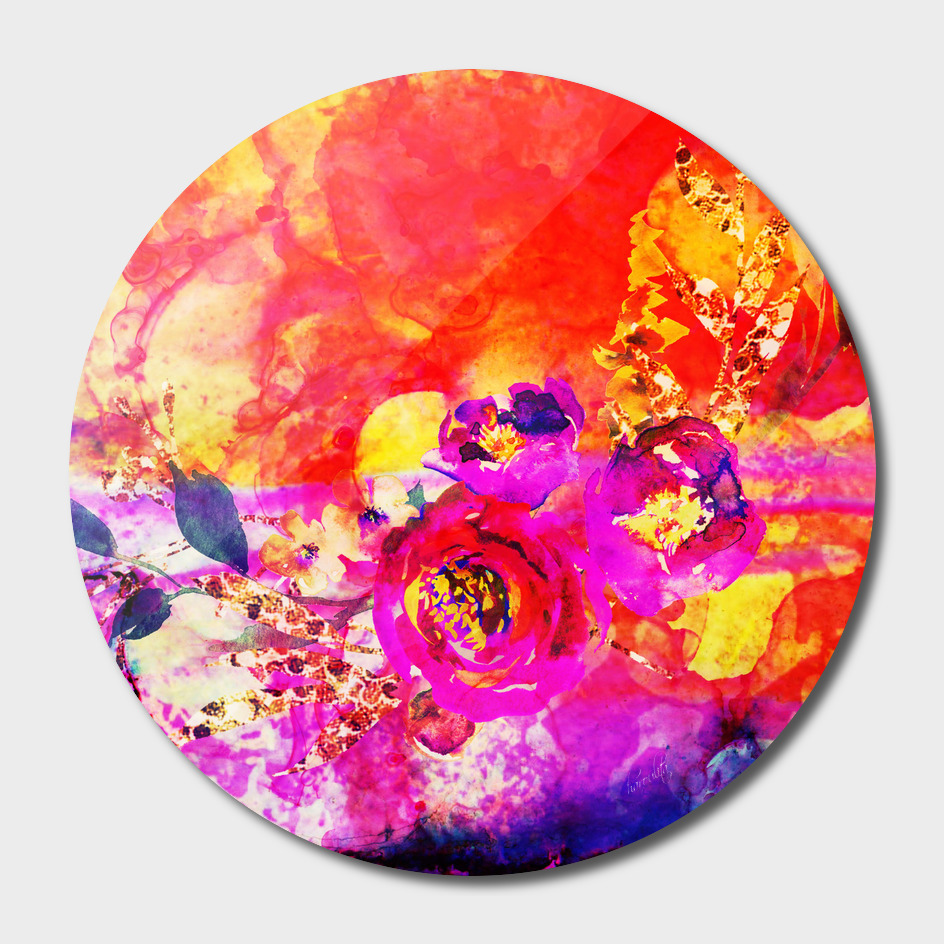 pink orange abstract floral