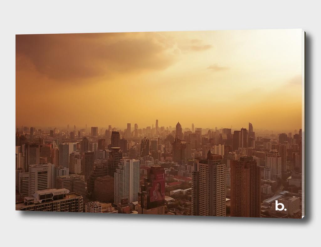 Sunset Over Bangkok Downtown