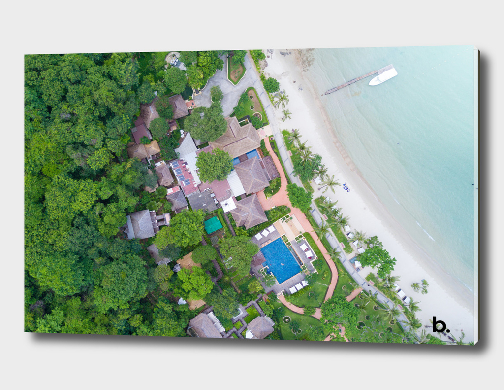 Coastline of the Tropical Island. Top View. Green Trees