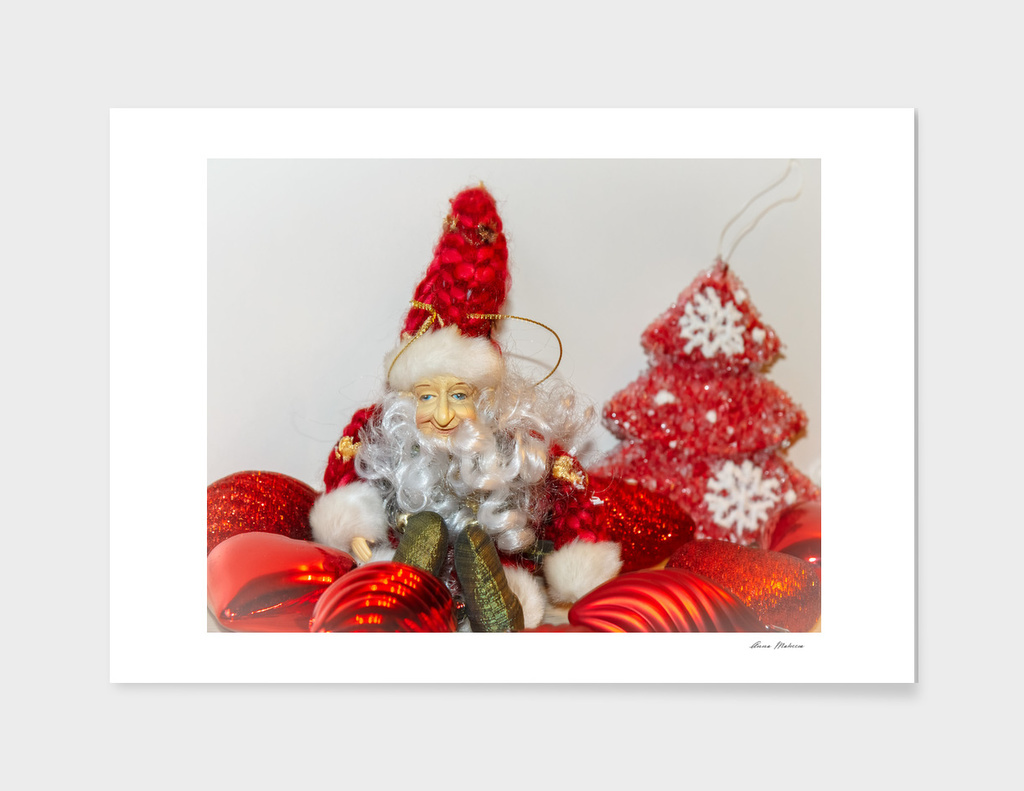 Christmas New year Red Postcard  Elf