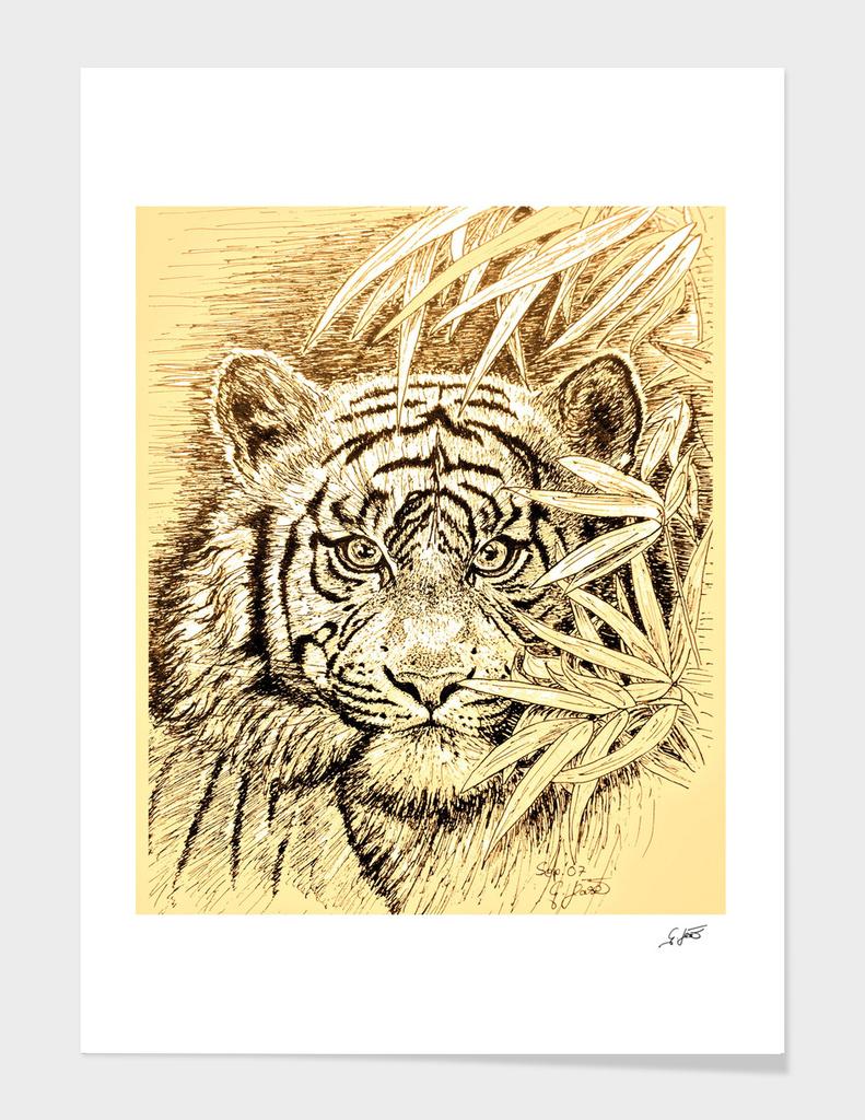 Tiger In Dark Yellow