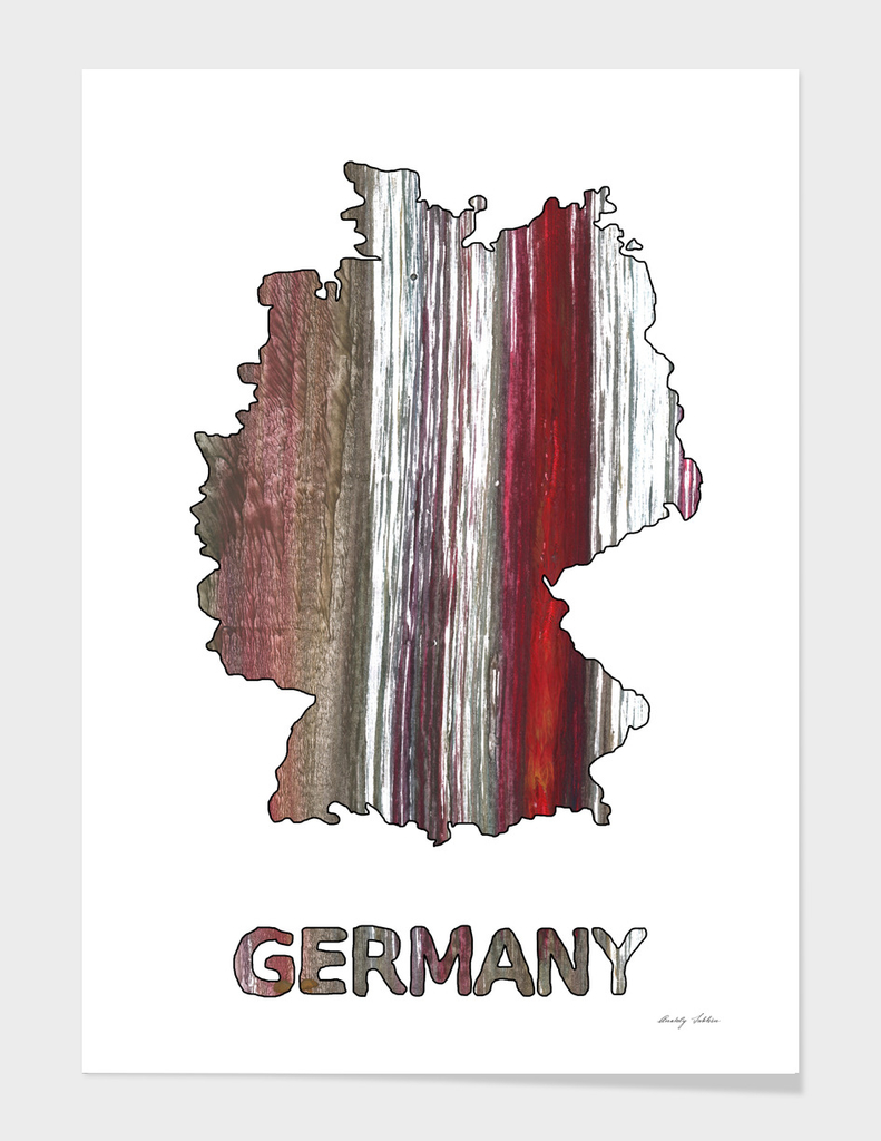 Germany map outline Wenge watercolor