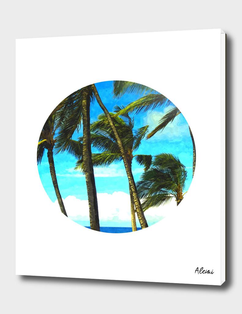 Geometric Circle Palm Tree