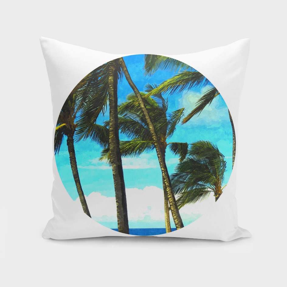 Geometric Circle Palm Tree