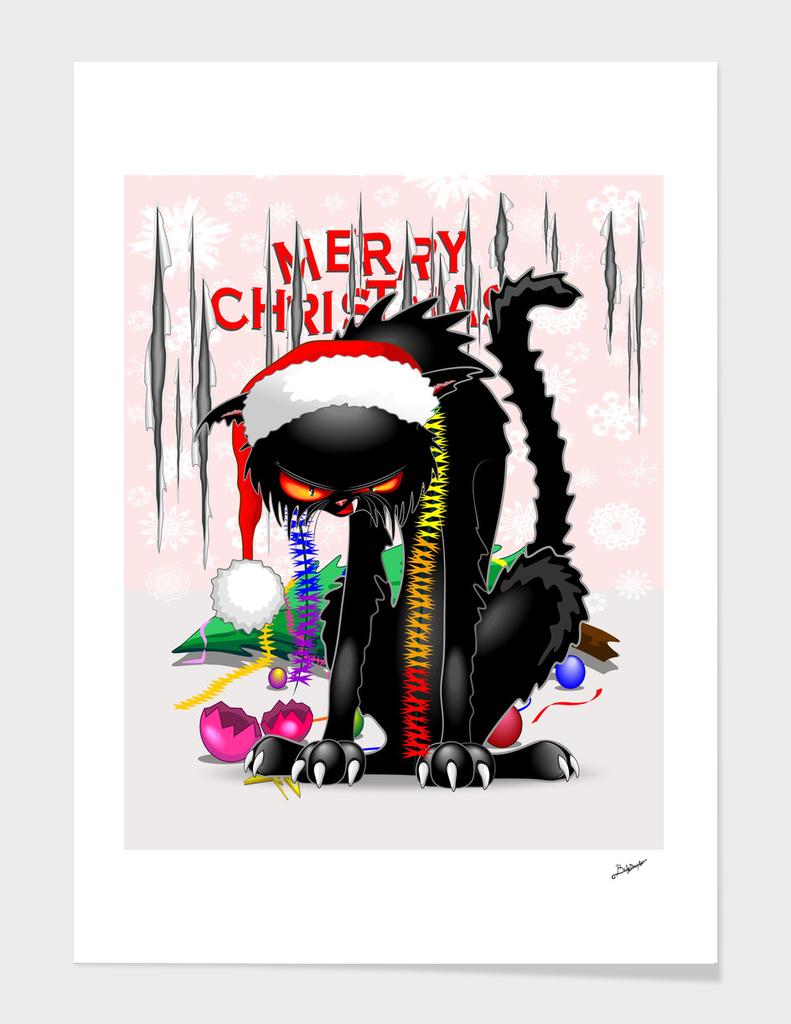 Evil Black Cat VS Christmas Tree