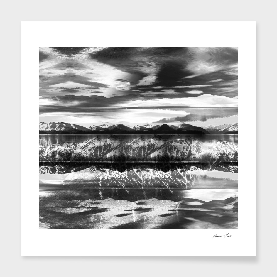 Black and white mountain lake landscape