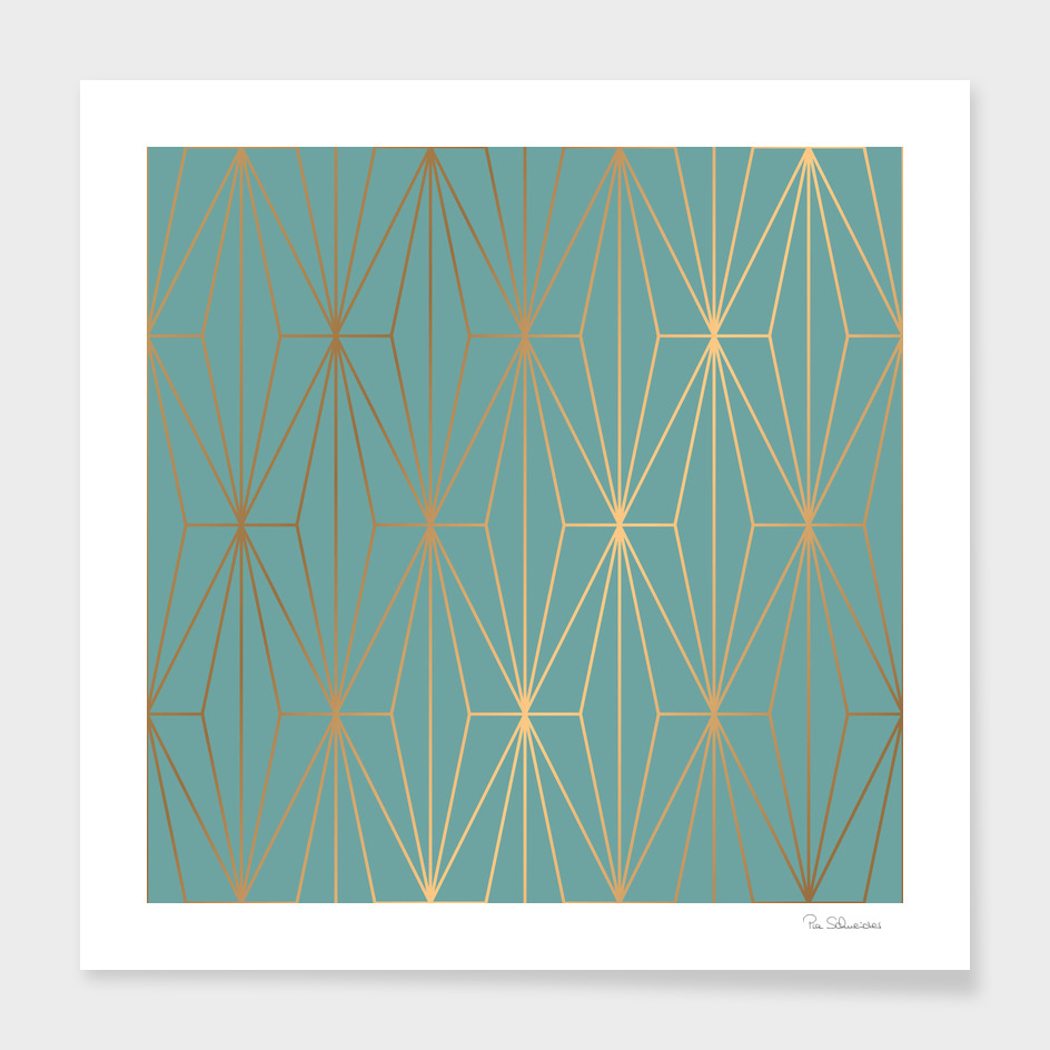 ELEGANT BLUE GOLD PATTERN