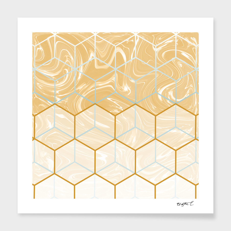 Geometric Effect Caramel Marble Design