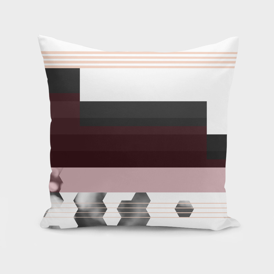 Deco Accent Striped Burgundy Charcoal Geometric Pattern