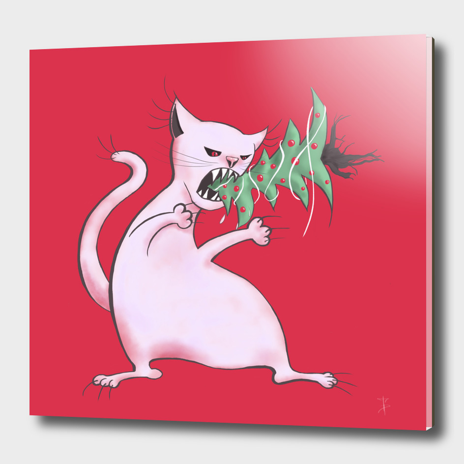 White Fat Cat Eats Christmas Tree