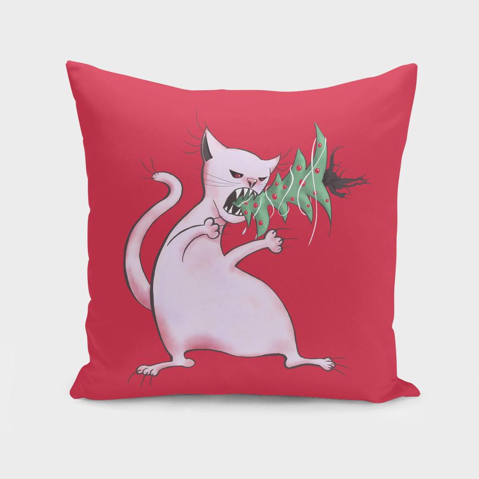 White Fat Cat Eats Christmas Tree