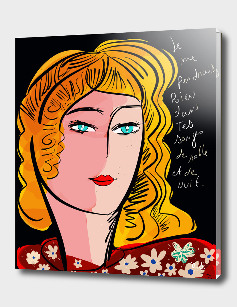 French Poem Portrait Girl Pop Expressionism