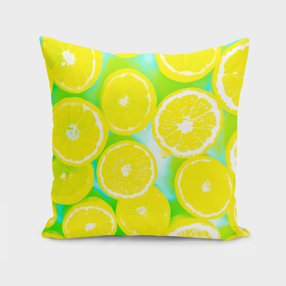 lemon pattern with green background